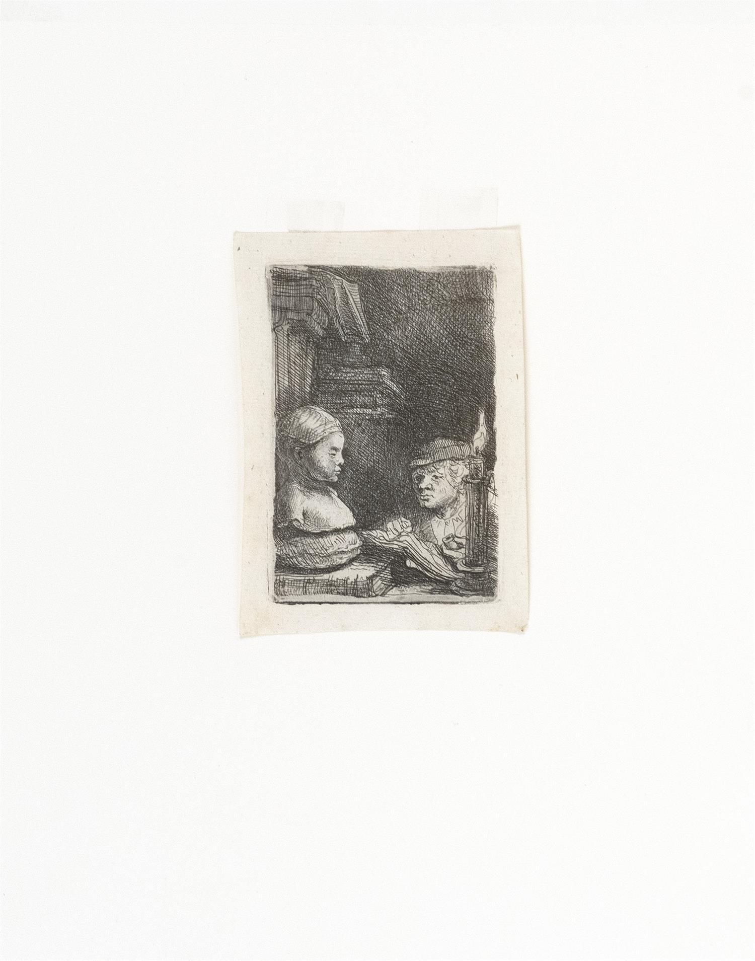 """REMBRANDT VAN RIJN, Holland, 1606-1669, """"Man Drawing from a Cast""""., Etching on laid paper, plate 95mm x 65mm. Sheet size 110mm x 78m..."""