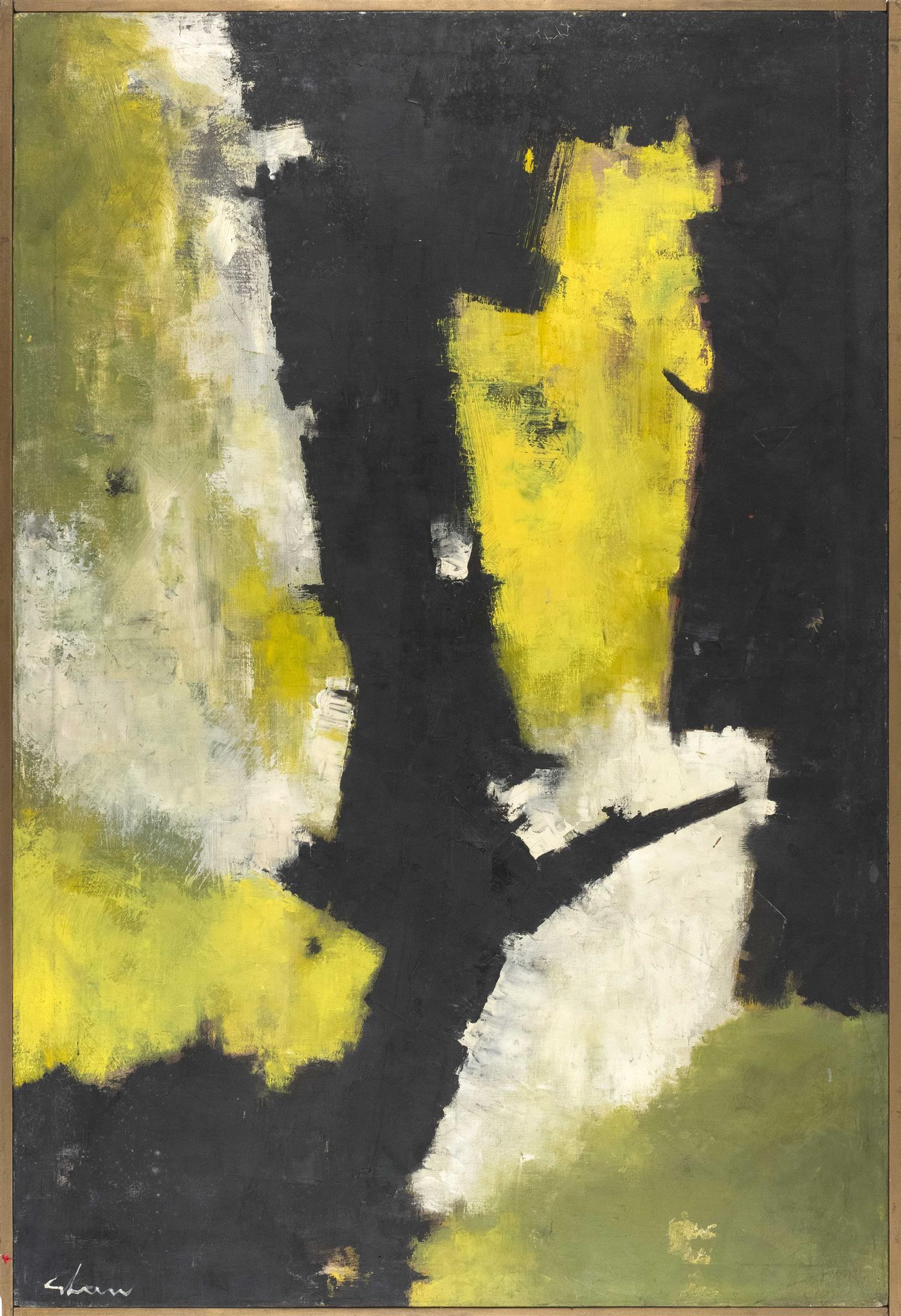 """CHARLES GREEN SHAW, New York, 1892-1974, """"Root Symbol 1959""""., Oil on canvas, 48"""" x 32"""". Framed 50"""" x 34""""."""