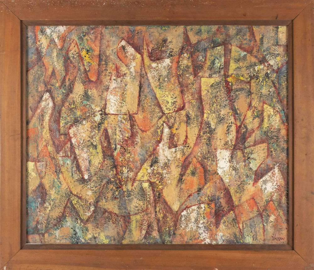 "CHARLES GREEN SHAW, New York, 1892-1974, ""Plastic Panes 1952""., Oil on board, 30"" x 36"". Framed 37"" x 42""."
