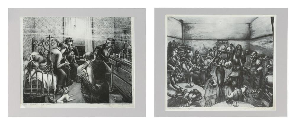 """GEORGE VON PHYSTER, Illinois, 1909-1986, Two unframed lithographs on paper: , 14"""" x 16.5"""" sight."""