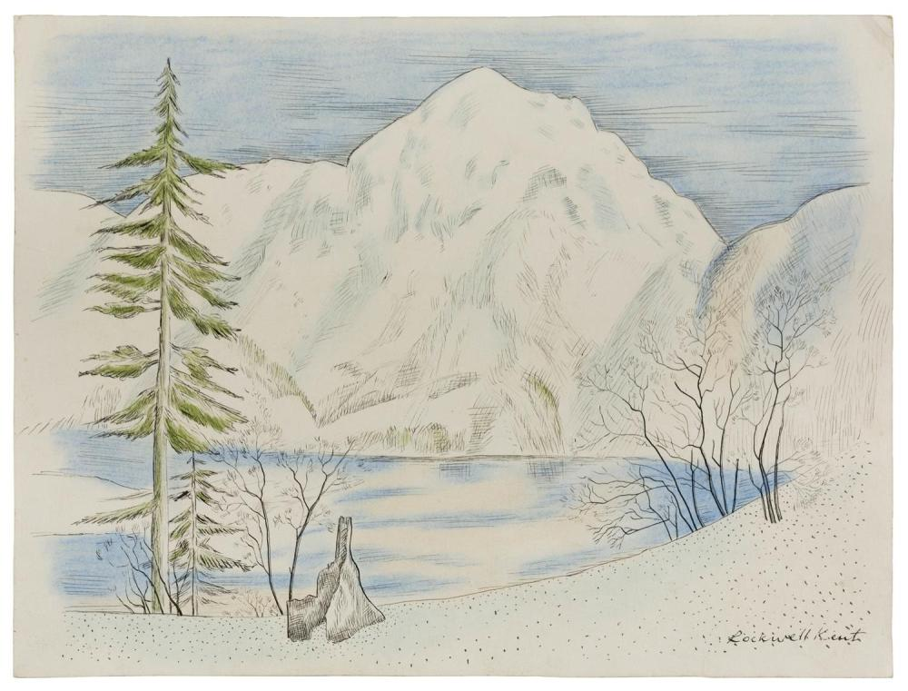 """ROCKWELL KENT, New York, 1882-1971, Sketch of an Arctic landscape., Pen and ink wash on paper, 11.5"""" x 15.5"""". Unframed."""