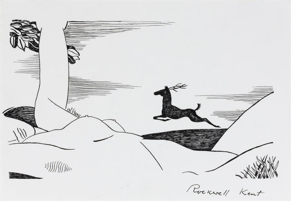 """ROCKWELL KENT, New York, 1882-1971, A stag running through a landscape;, Pen and ink on card stock, 5.5"""" x 8"""". Matted 14"""" x 16""""."""
