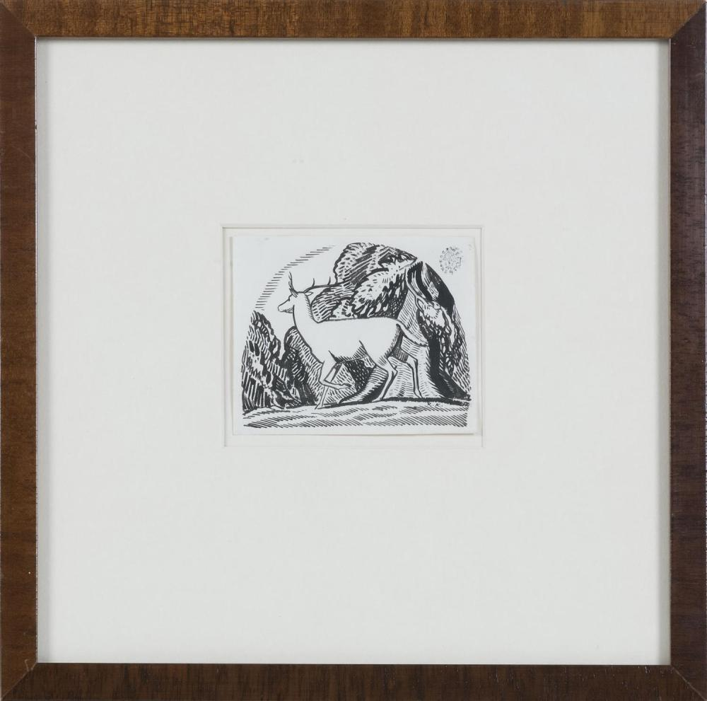 """ROCKWELL KENT, New York, 1882-1971, """"Deer in Forest."""", Pen and ink on paper, 3"""" x 3.75"""". Framed 11"""" x 11""""."""