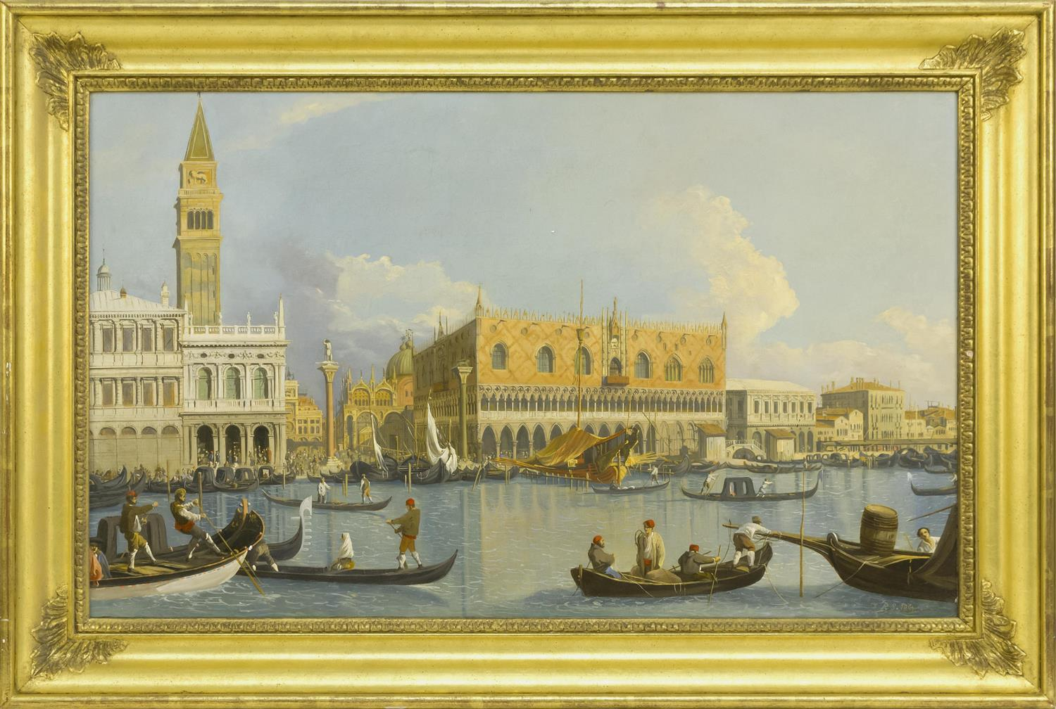"ROBERT SALMON, England/Massachusetts, 1775- c. 1851, Il Molo, Venice, from the Bacino di San Marco., Oil on canvas, 19.75"" x 32.75""...."