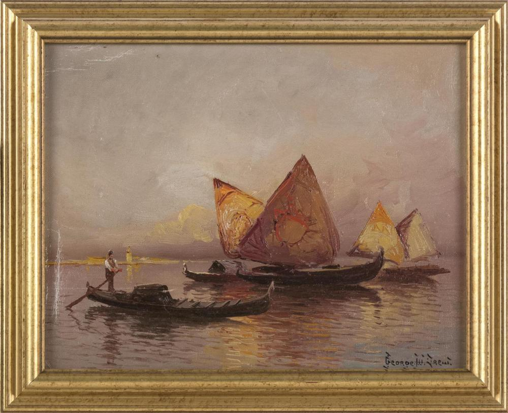 "GEORGE DREW, New York, 1875-1968, Off Venice., Oil on canvas laid down, 7.75"" x 9.75"". Framed 9.5"" x 11.5""."