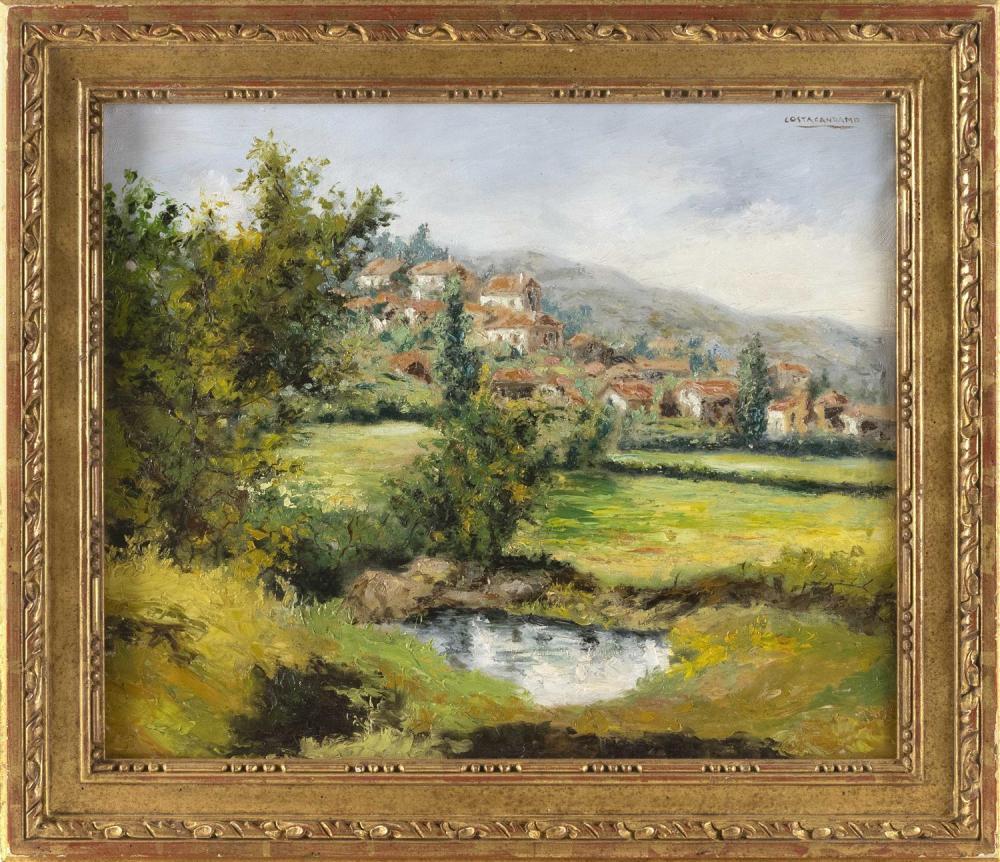 "SPANISH SCHOOL, 20th Century, ""Costa Candamo""., Oil on canvas, 19.75"" x 23.5"". Framed 26"" x 29""."