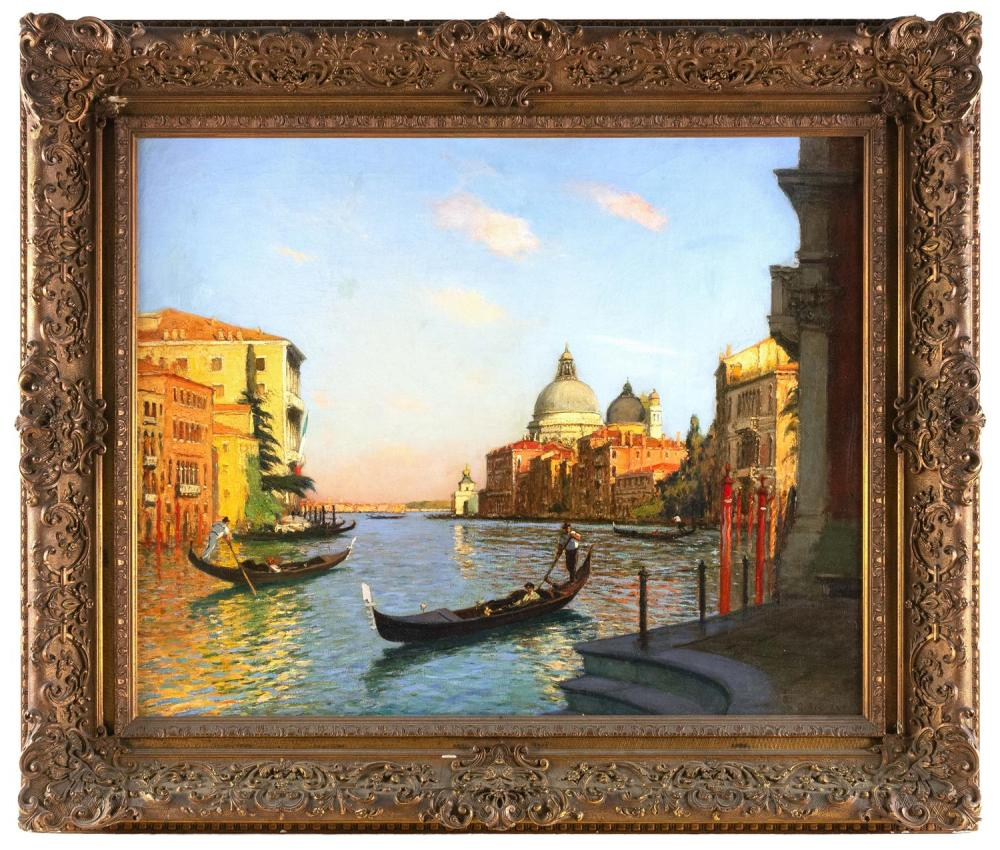 "GASTON H. BOUCART, France, 1878-1962, Venice., Oil on canvas, 25"" x 32"". Framed 35"" x 41""."
