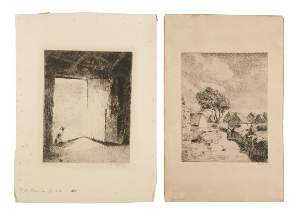 """MICHAEL AUGUSTIN POWER O'MALLEY, Ireland/New York/California, c. 1875-1946, """"Her Place in the Sun"""" and """"Spring Day""""., Etchings on pa.."""