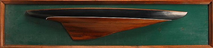 CONTEMPORARY MOUNTED HALF MODEL OF A J-BOAT Height 11¼