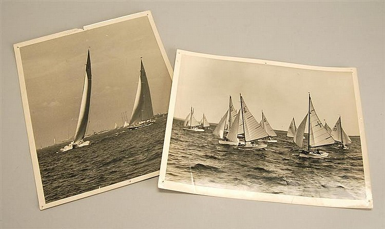 TWO MORRIS ROSENFELD BLACK AND WHITE PHOTOGRAPHS One depicts a small boat race. The other, depicting two America's Cup J-yachts with..