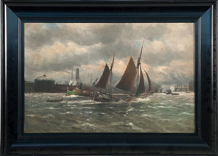 ALFRED V. JENSEN, Dutch, 1898-1960, A tug and boats in busy harbor channel., Oil on canvas, 20.75