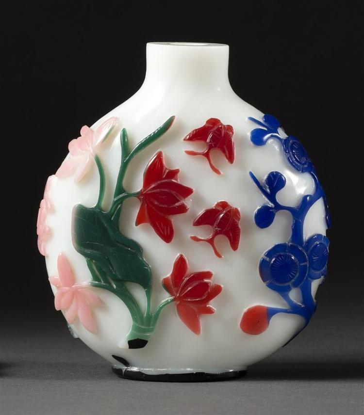 SIX-COLOR OVERLAY GLASS SNUFF BOTTLE With red, blue, green, pink, yellow, and jasper floral design on a white ground. Black footring...