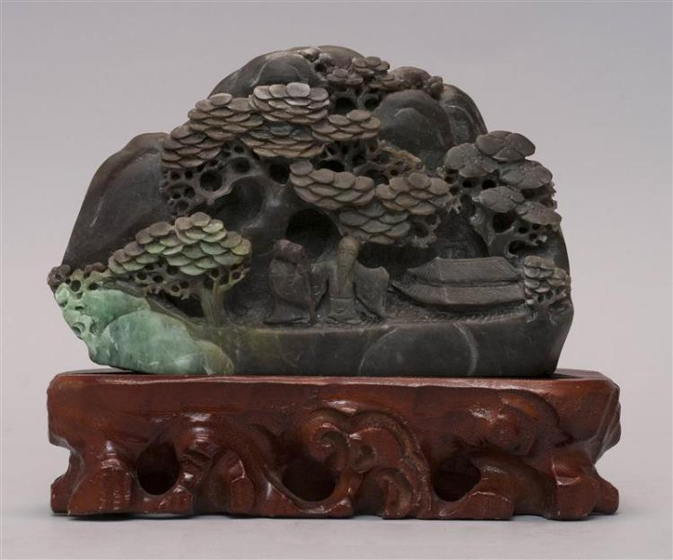 HARDSTONE MOUNTAIN With relief carving of two sages beneath pine trees. Length 6.75