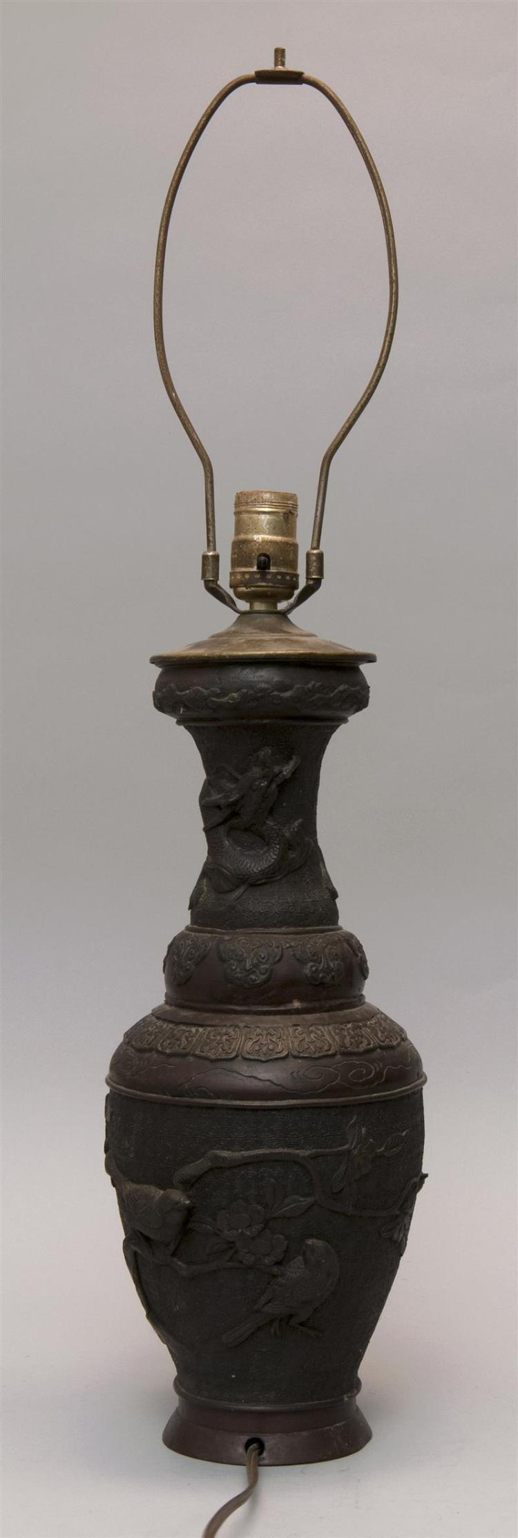 BRONZE VASE In baluster form with raised decoration of sparrow in a cherry tree on an incised lattice ground. Shoulder with lattice...