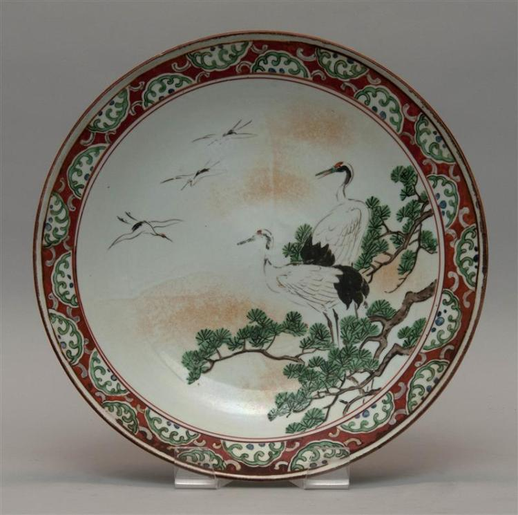 KUTANI PORCELAIN CHARGER With crane and pine tree design. Diameter 14.5