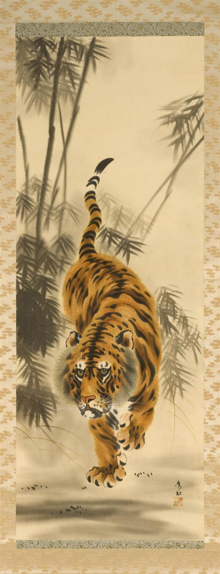 SCROLL PAINTING ON PAPER Tiger in bamboo. Signed and seal marked lower right. 43.5