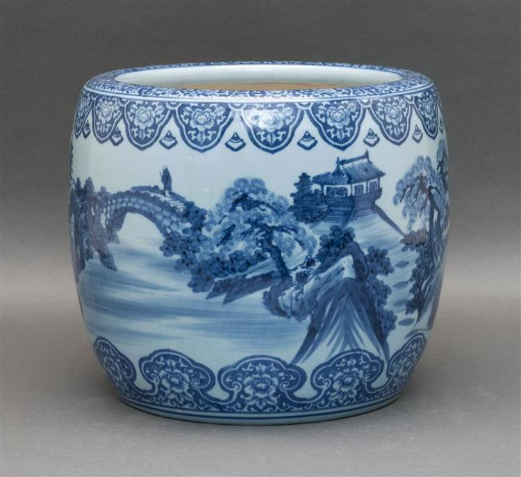 BLUE-ON-BLUE PORCELAIN JARDINIÈRE With figural landscape decoration. Lappet foot and rim. Unglazed and unmarked base. Height 9