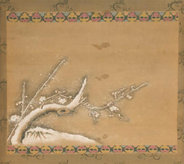 SCROLL PAINTING ON SILK Depicting a snow-covered branch. 14.2