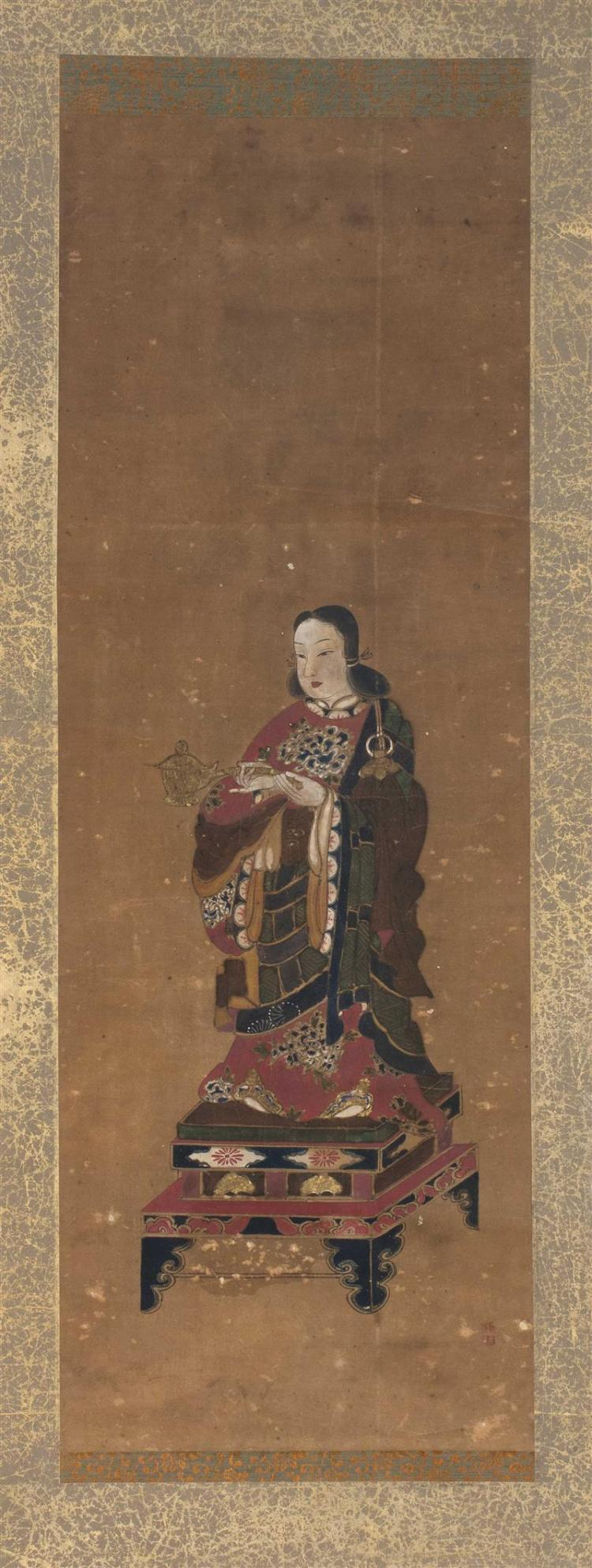 SCROLL PAINTING ON SILK Depicting a Buddhistic figure standing on a rectangular platform. 32.5