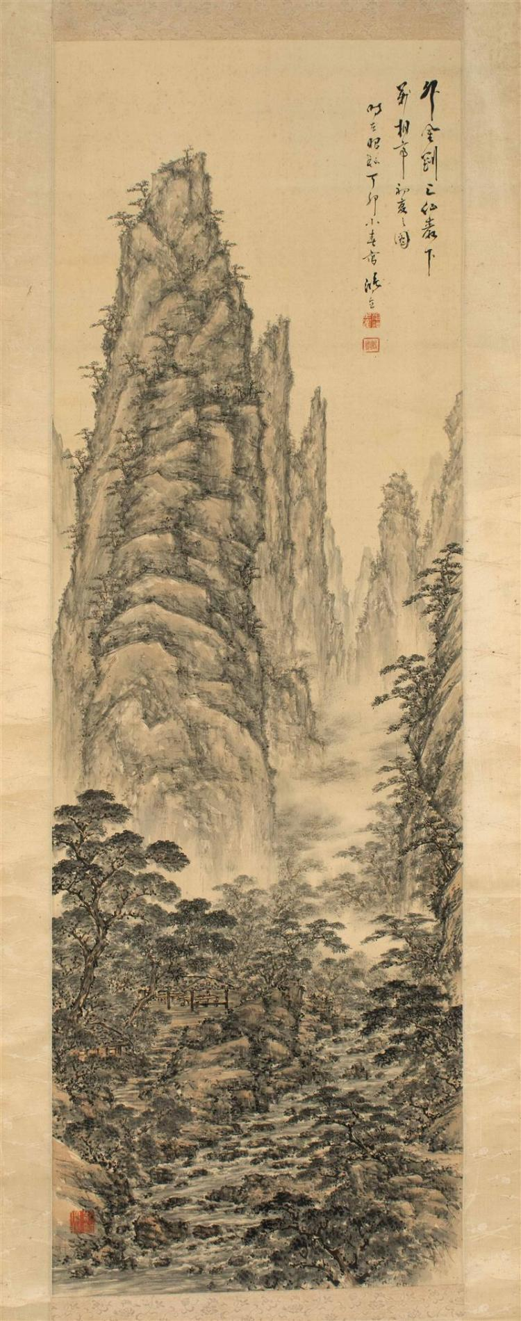 SCROLL PAINTING ON SILK In Nanga style, with towering mountains above a rustic cottage and flowing river. Marked with calligraphy an...