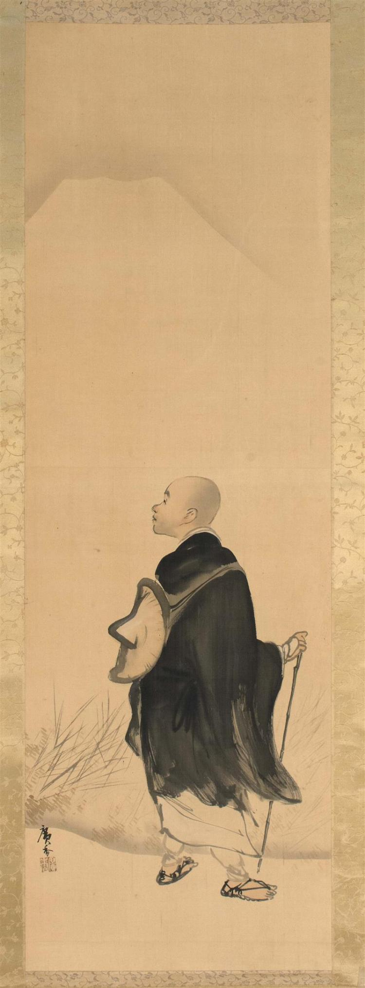 SCROLL PAINTING ON SILK By Hirohide. Depicting a wandering monk beneath Mt. Fuji. Signed and seal marked. 43.5
