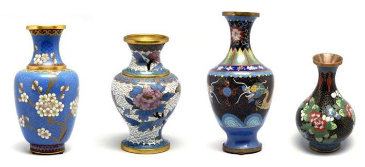 FOUR CLOISONNÉ ENAMEL VASES 1) In baluster form with flowering cherry tree, flowering vine, and butterfly decoration on a turquoise...