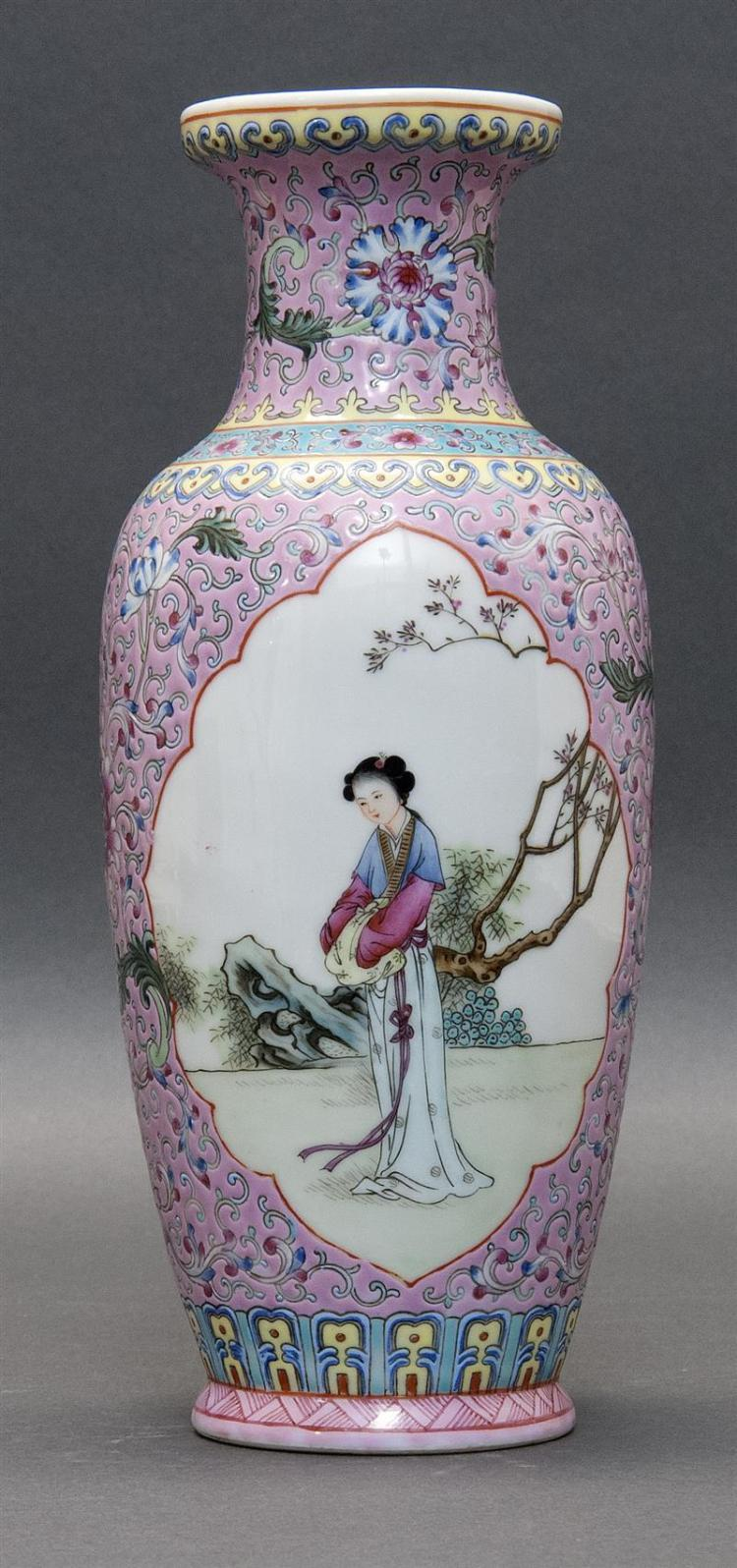 FAMILLE ROSE PORCELAIN VASE With figural cartouches of beautiful ladies on a peony floral ground. Six-character Qianlong mark on bas...