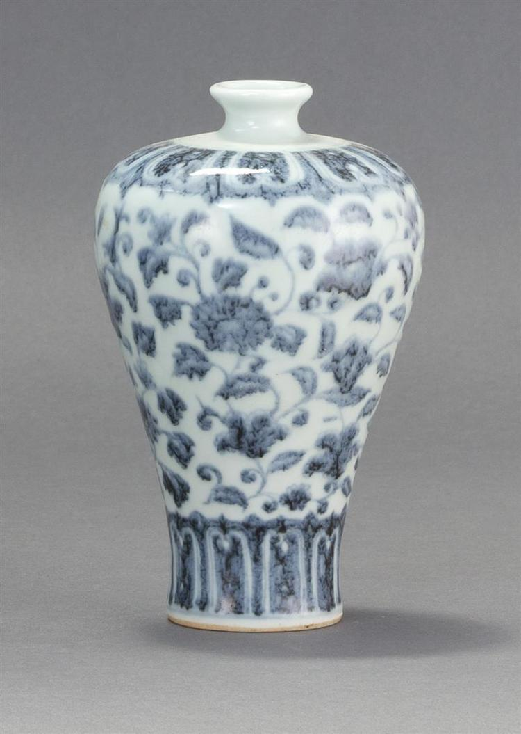 BLUE AND WHITE PORCELAIN BOTTLE/VASE In meiping form with flower and vine design. Height 6.5