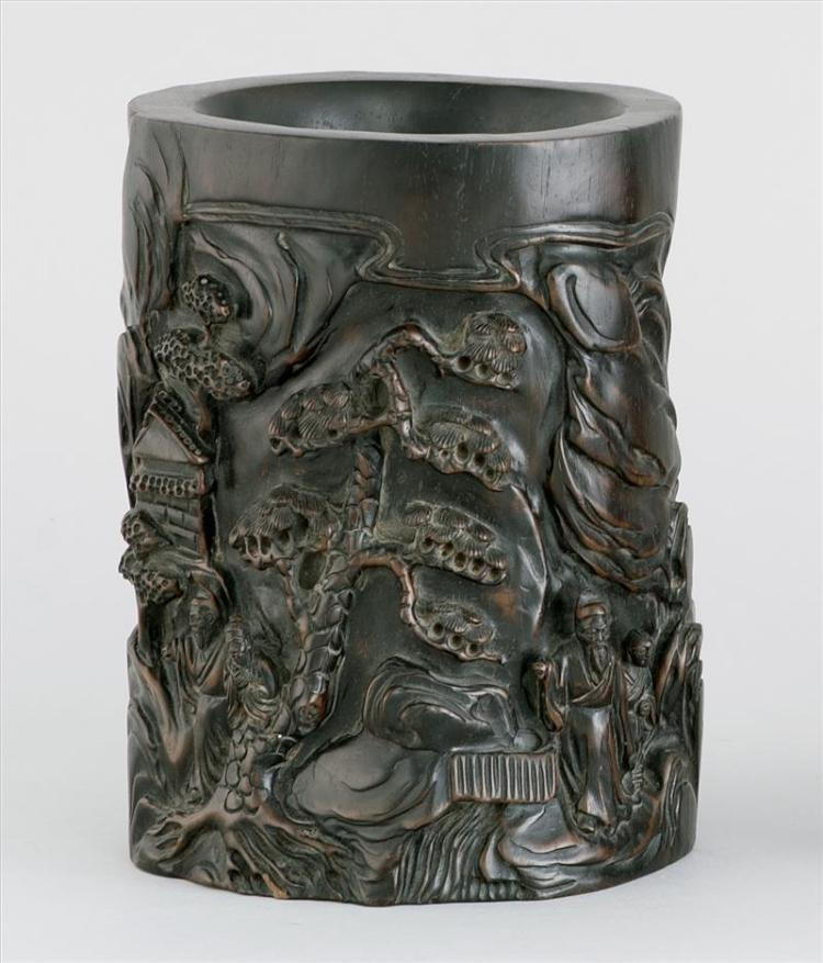 ZITAN BRUSH POT In modified cylinder form with relief figural landscape design. Some engraved calligraphy. Height 7.5