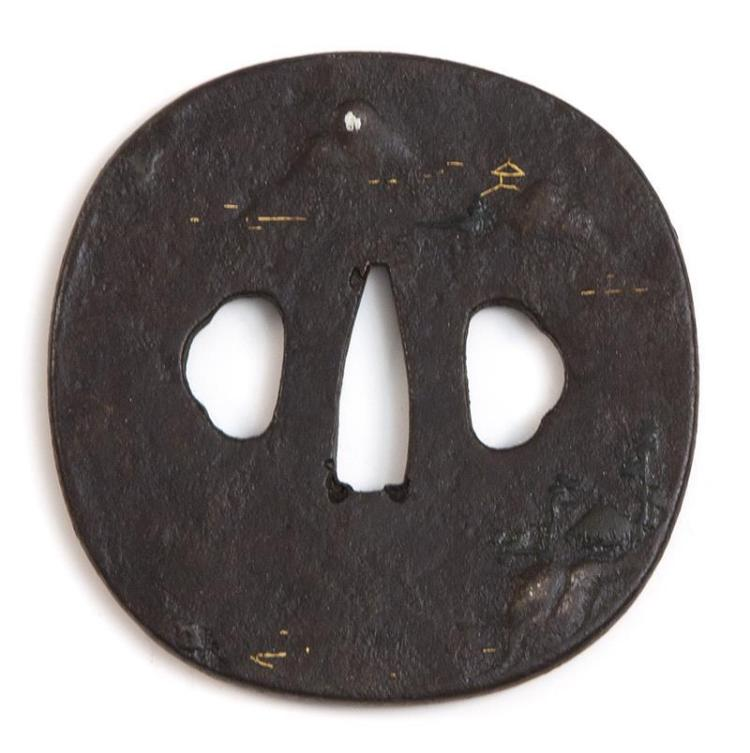 IRON SHIN NO MARU-GATA TSUBA With brass-inlaid mountain landscape design. Diameter 3.1