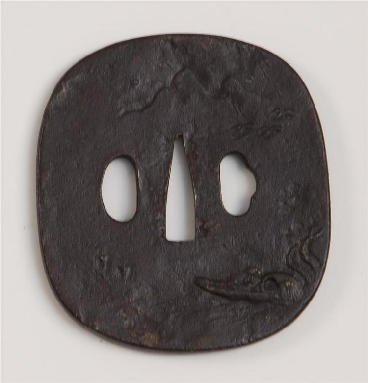IRON NADE-GAKU HOKEI-FORM TSUBA With river landscape design. Length 3.25