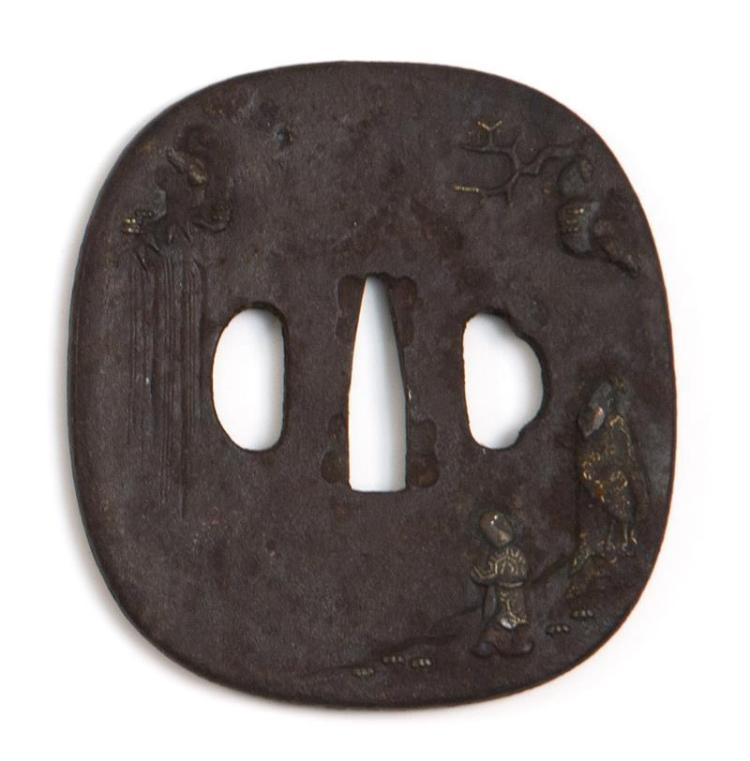 IRON NADE-GAKU HOKEI-FORM TSUBA Depicting a youth and a sage beside a waterfall. Length 3.2