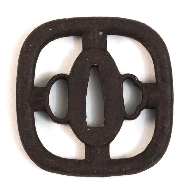 IRON HOKEI-FORM TSUBA With heavy cross-like design. 2.75