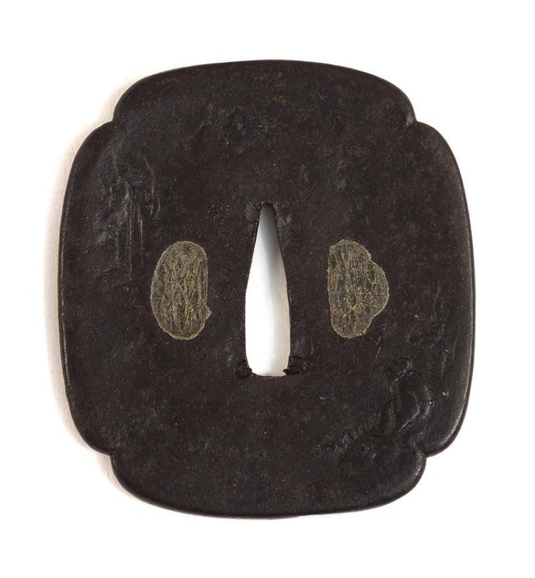 IRON MOKKO-FORM TSUBA With inlaid design of a seated sage in a waterfall landscape. Length 3.3