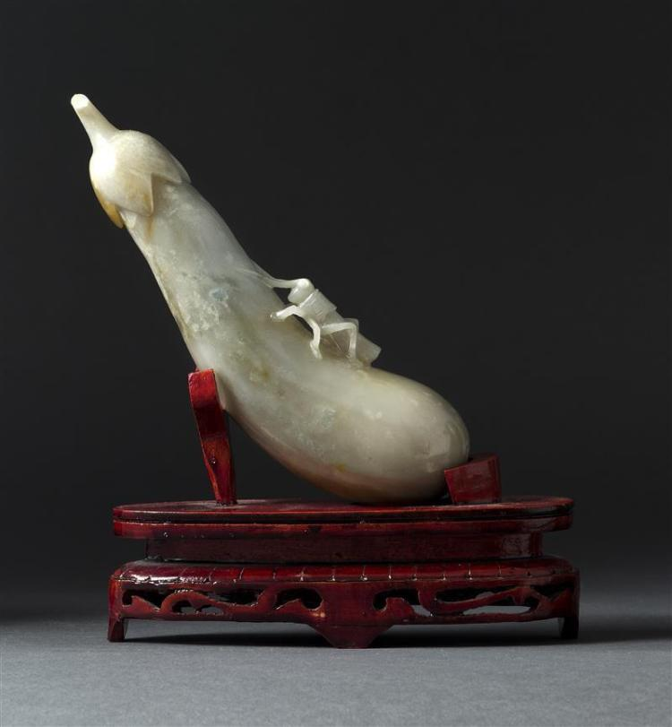 GRAY JADE CARVING In the form of a cricket climbing on an eggplant. Length 7