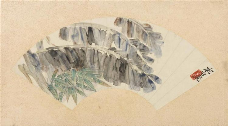 FAN PAINTING ON PAPER Attributed to Qi Baishi. Depicting banana and bamboo leaves. Signed and seal marked. Length 20.5