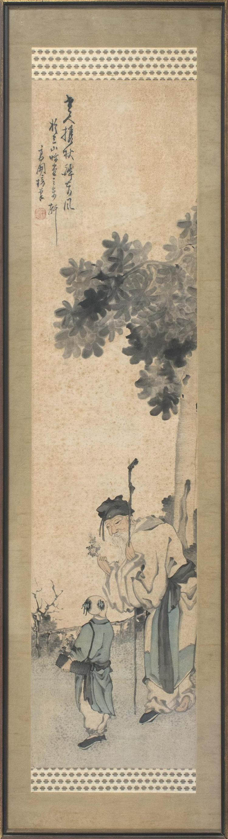 FRAMED SCROLL PAINTING Depicting a sage and youth beneath a tree. 50.5