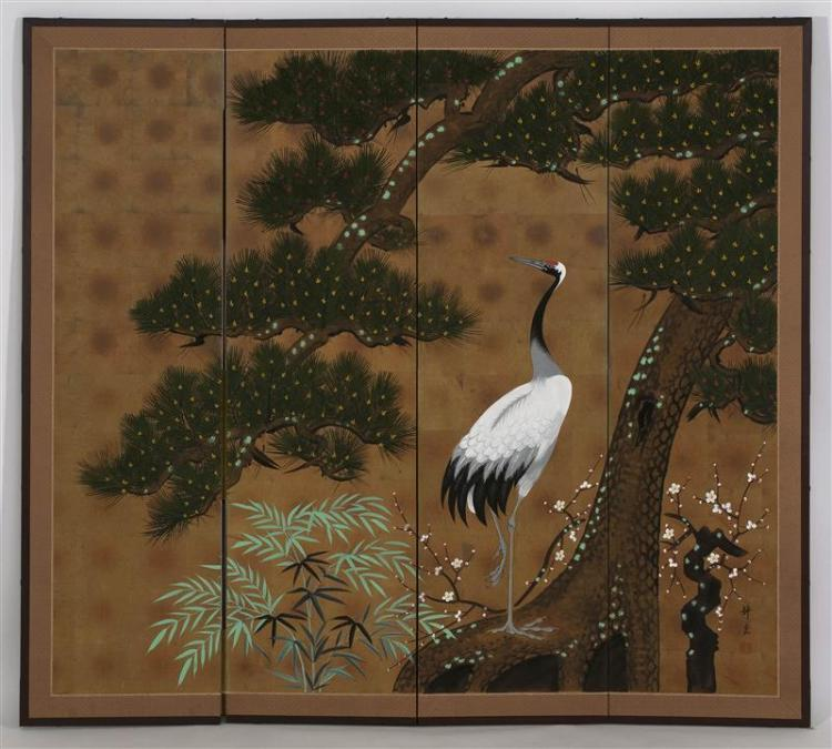 FOUR-PANEL FLOOR SCREEN Hand-painted decoration of a crane in Three Friends (bamboo, prunus, and plum blossom) landscape on gilt pap...