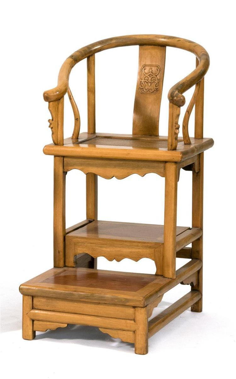 ELMWOOD GRANDMOTHER''S CHAIR With yoke back, dragon carving, and stepped base. Height 39