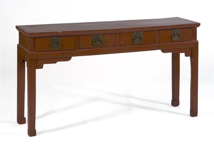 RED LACQUER ALTAR TABLE With four drawers and brass mounts. Height 32