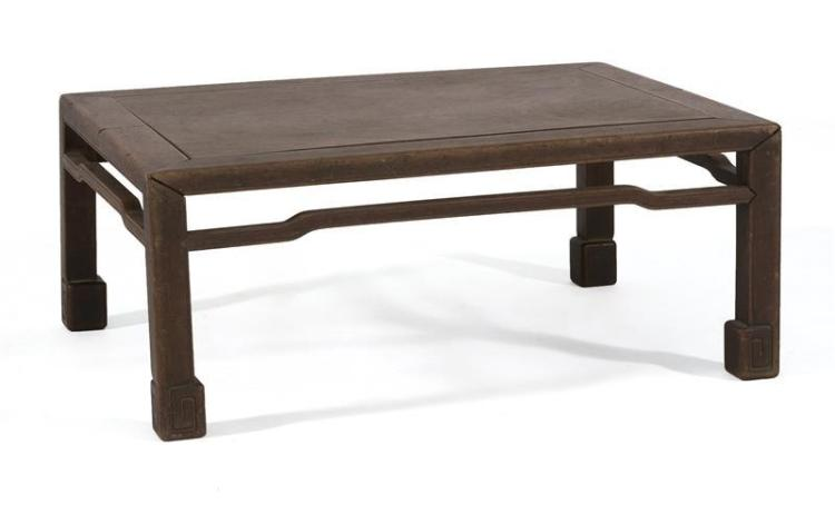 BURL WOOD LOW TABLE With openwork apron. Height 11.3