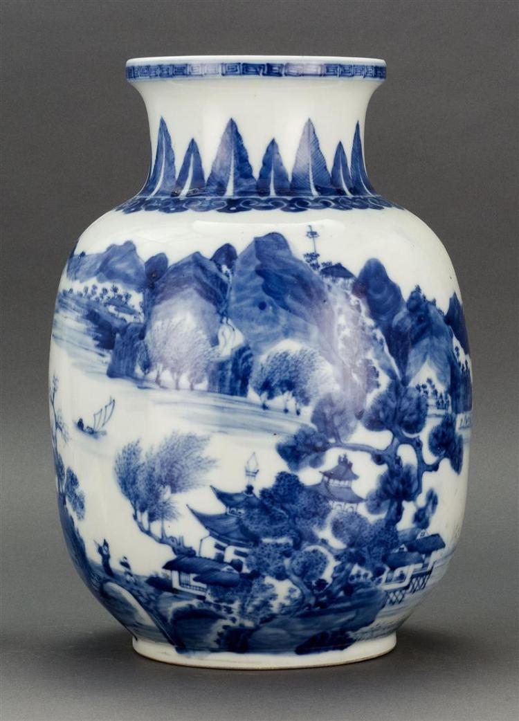 BLUE AND WHITE PORCELAIN VASE In ovoid form with figural landscape decoration. Six-character Jiaqing mark on base. Height 14