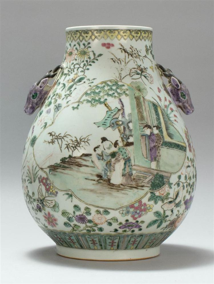 FAMILLE VERTE PORCELAIN VASE In pear shape with deer''s-head handles and figural landscape decoration. Six-character Kangxi mark on b..