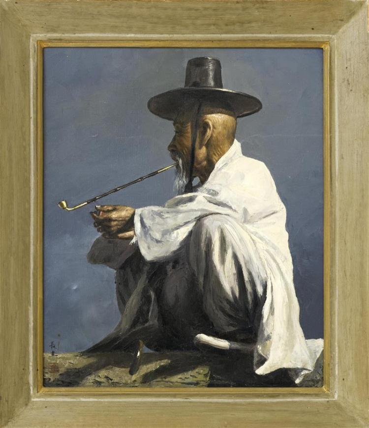 FRAMED PAINTING Portrait of a Korean man in a hat seated with a pipe. Two-character signature lower left reads