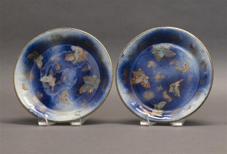 PAIR OF KORANSHA PORCELAIN DISHES With butterfly design on a blue ground. Diameter 8.5