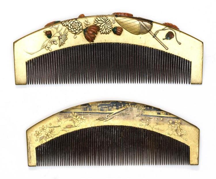 TWO GILT LACQUER HAIR COMBS One with applied coral chrysanthemums among raised gilt chrysanthemum and leaf decoration, length 4