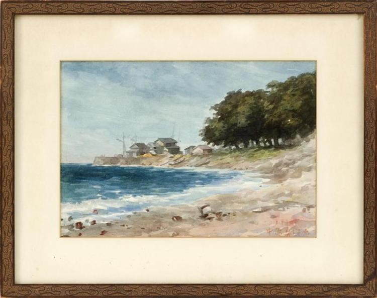 WATERCOLOR ON PAPER Coastal landscape. Signed and dated illegibly lower right. 9