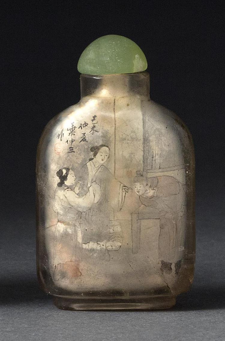 ROCK CRYSTAL INTERIOR-PAINTED GLASS SNUFF BOTTLE By Yeh Chung-San. Depicting figures in interior and exterior settings. Height 2