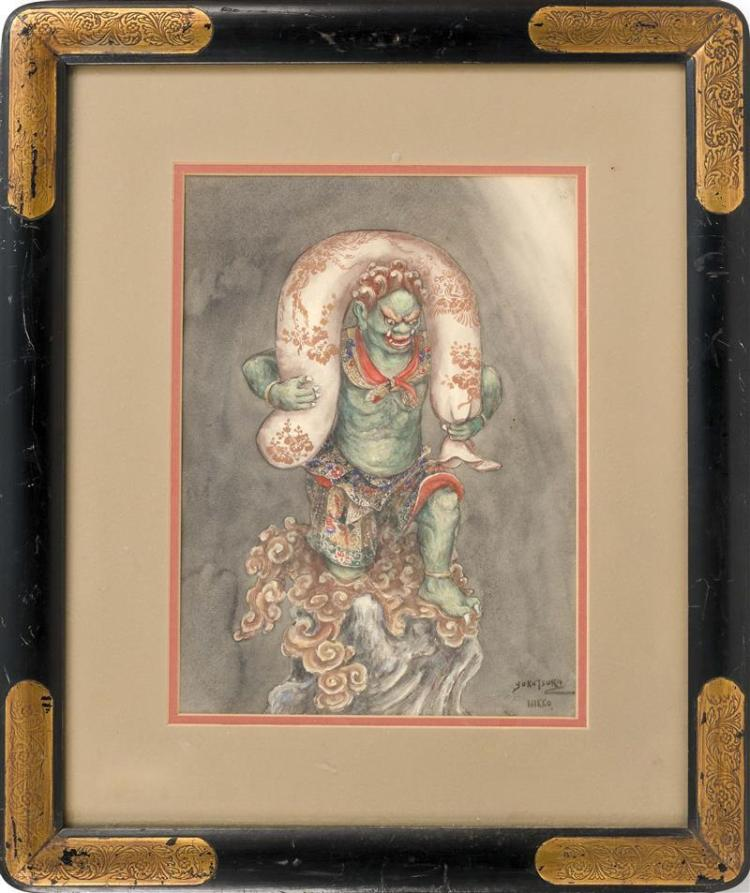 PAINTING ON PAPER By Yokotsuka. Depicting Fudo Mio emptying wind from his treasure sack. Signed lower right