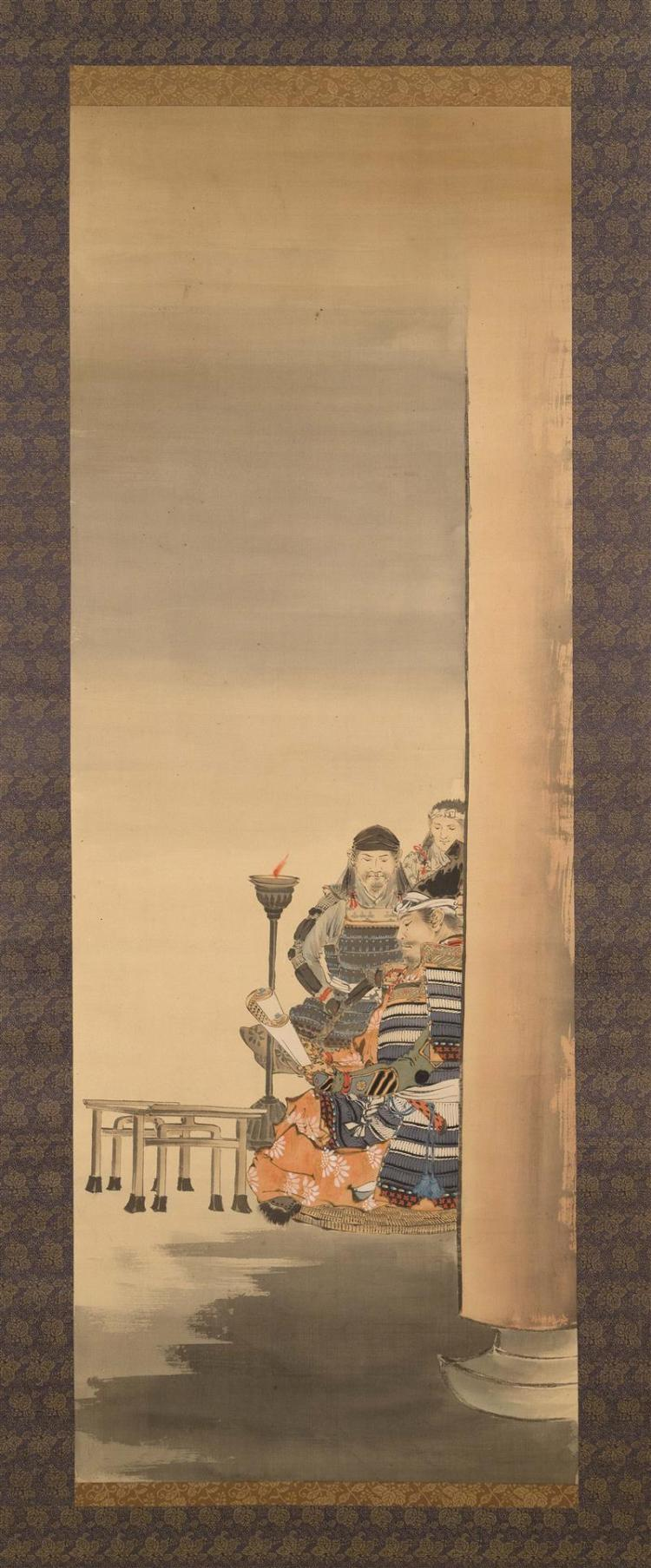 SCROLL PAINTING ON SILK Depicting three samurai examining a scroll. 43